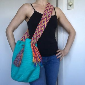 Wayuu Colombia Hand Woven embroidered Mochila Bag